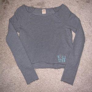 grey cropped sweatshirt with rhinestone heart